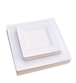 Square Disp. Dinner Plate 50pc Set 10in and 7.5in Silver