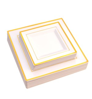Square Disp. Dinner Plate 50pc Set 10in and 7.5in Gold