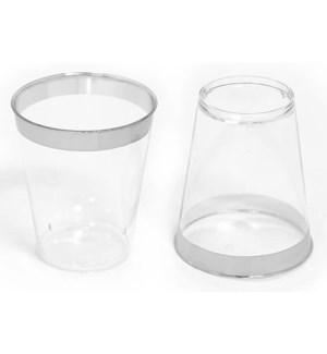 36pc Silver Rim Disposable 2oz Shot Glass