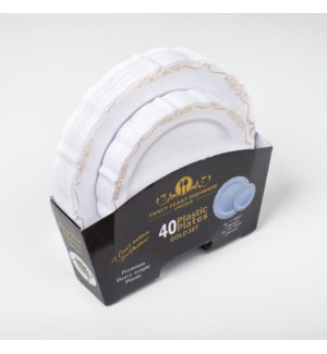 Disposable Plate Gold Embossed set 40