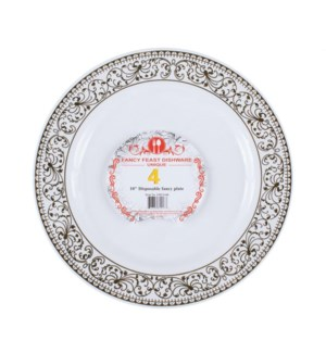 Disposable Dinner Plate Gold 10in 4PK.