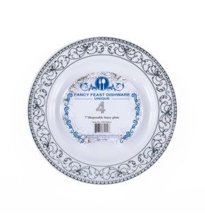 Disposable Dessert Plate Silver 7in 4PK.