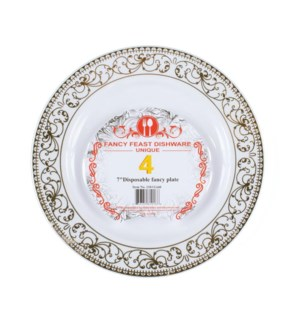 Disposable Dessert Plate Gold 7in 4PK.