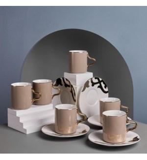 Tea Cup 12pc Set  Coffee On White Rumi Bone China 200cc