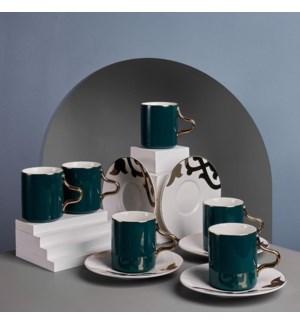 Tea Cup 12pc Set  Green On White Rumi Bone China 200cc