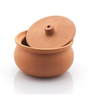Clay Casserole with Lid, small size, natural 22x11cm