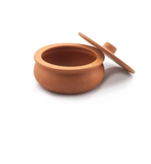 Clay Casserole with Lid, mini size, natural 16x10