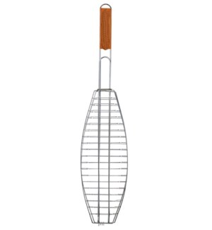 Grill Single Fish Wooden Handle 24.5inch