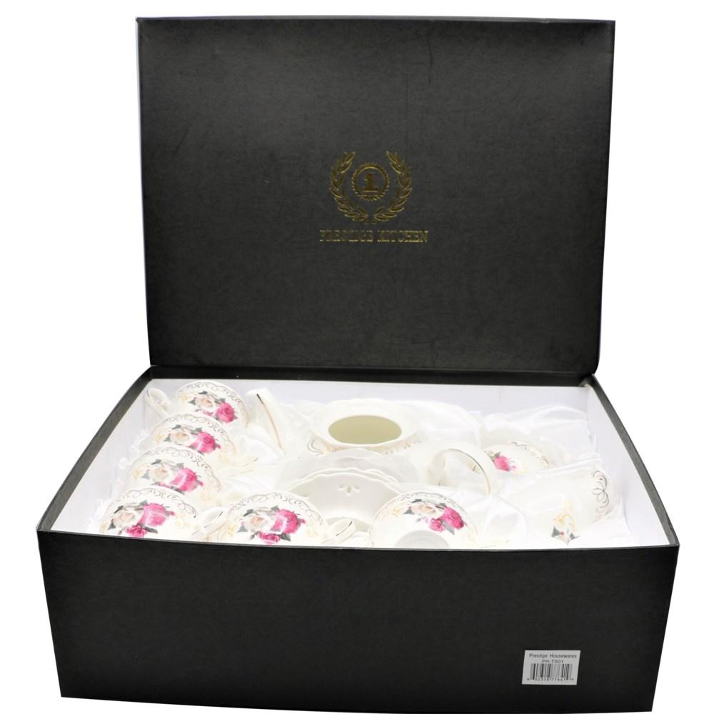 17pc Classic Tea Set Zinnia-Bone China-w/Gold