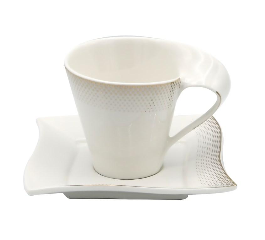 17pc Modern Tea Set-Bone China-w/Gold