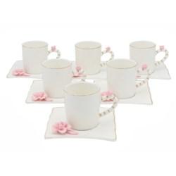 100cc Coffee Cups 12pc Set w/Pink Flower