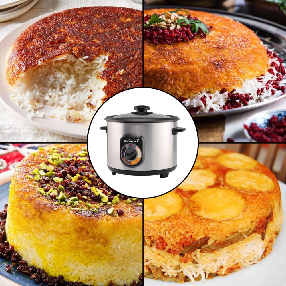 1.8L (10-Cups) Persian Tahdig Rice Cooker + Spatula & Cup-60min Timer-AutoWarm-700W-cETL
