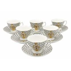 Tea Cup 220cc Bone China 12pc Set Footed-Octagon Royal Blk/Gld