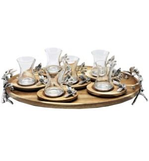13pcs Tea Set w/Acacia Oval Saucers & Tray - Antq Slvr