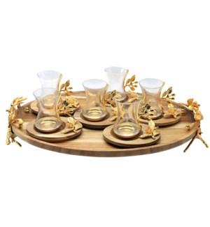13pcs Tea Set w/Acacia Oval Saucers & Tray - Gld