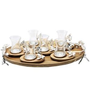13pcs Tea Set w/Acacia Oval Saucers & Tray - Slvr