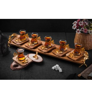 13pcs Tea Set w/Acacia Rect Saucers & Tray - Antq Gld