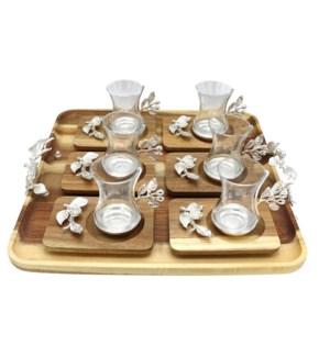 13pcs Tea Set w/Acacia Rect Saucers & Tray - Slvr