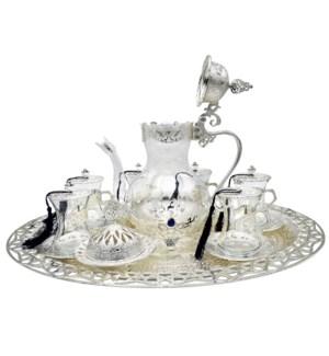 Tea Set 21pc w/Pitcher & Oval Tray-Slvr