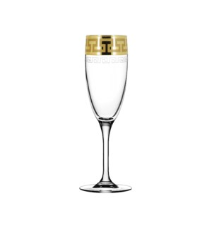 Champagne Flute - Greek Pattern - 6pc Set Gold