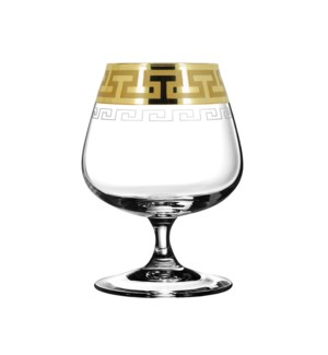 Cognac Glass Greek Pattern 6pc Set 400ml Gold