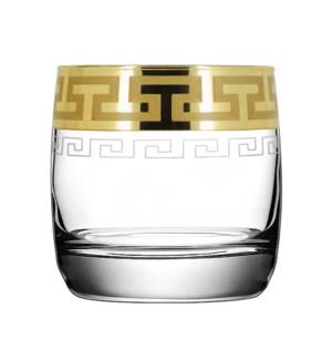D.O.F Glass Greek Patern 6pc Set 300ml Gold