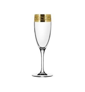 Champagne Flute V. Pattern - 6pc Set Gold