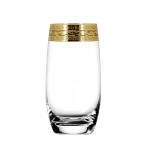 H.B. Glass V. Pattern 6pc Set 300ml Gold
