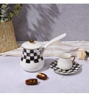 Coffee Pot Checkered Bone China