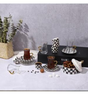 Tea Set 14pc Checkered Bone China