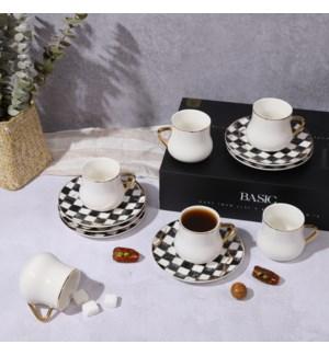 12pc Tea Set Wte on Checkered-Gold Marble Infusion