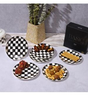 "Dessert Plate 6pc Set 7.5"" Checkered  Bone China"