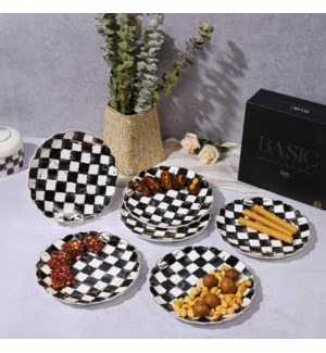 Dessert Plate 6pc Set Checkered-Gold Marble Infusion 6 inch