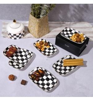 """6pcs Dessert Plate 6"""" Checkered Rectangular Plate"""