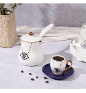 Coffee Pot Evil Eye White Bone China