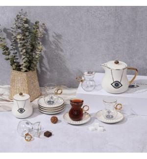 Tea Set 14pc Evil Eye White Bone China