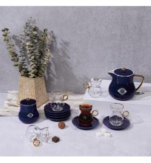 Tea Set 14pc Evil Eye Blue Bone China