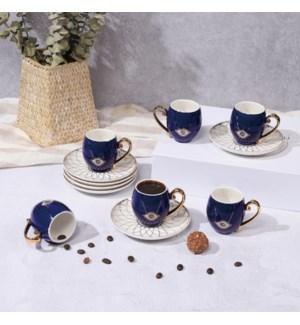 Coffee Cup 12pc 80cc Set Evil Eye Blue On White Bone China