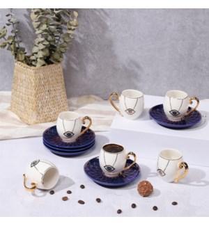 Coffee Cup 12pc 80cc Set Evil Eye White On Blue Bone China