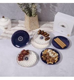 "Dessert Plate 6"" Evil Eye 3 White 3 Blue Bone China"