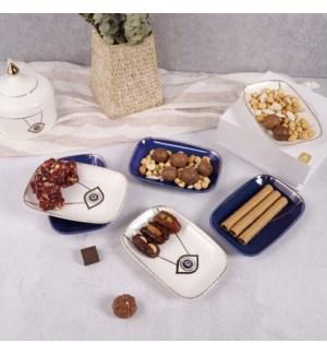 "Dessert Plate 6"" 6pc Set  Evil Eye 3 White 3 Blue Bone China"