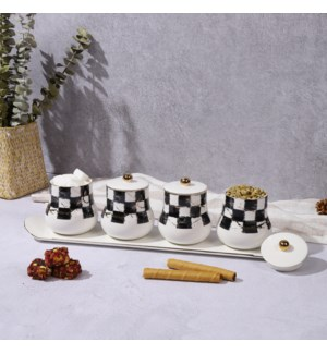 4pc Canister Set w/Tray - Checkered-Gold Marble Infusion