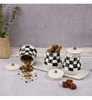 Canister Set 5Pc Checkered Bone China