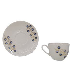 Coffee cup and Saucer 12pc Set 100cc Evil Eye/Feather