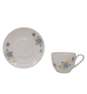 Coffee cup and Saucer 12pc Set 100cc Evil Eye/Peacock