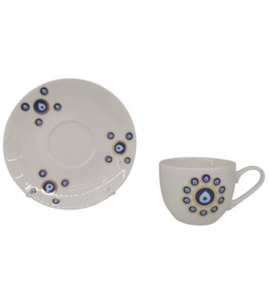 Coffee cup and Saucer 12pc Set 100cc Evil Eye/Round