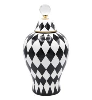 Deco-Vase w/Lid Checkered W6.5*H32