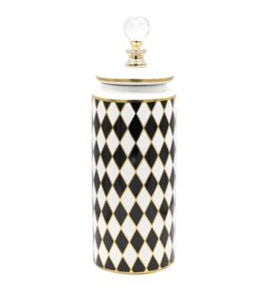 Deco-Canister w/Lid Checkered W12.5*H37