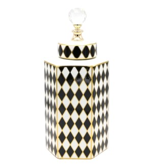 Deco-Hexa-Canister w/Lid Checkered W12.5*H32.5