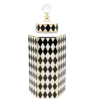 Deco-Hexa-Canister w/Lid Checkered W14*H38